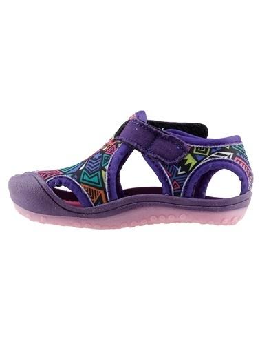 Ayakland Kids Desenli Aqua Kız Çocuk Sandalet Panduf Ayakkabı Mor